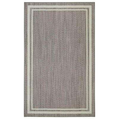 Border Loop Grey/Cream 4 ft. x 6 ft. Area Rug