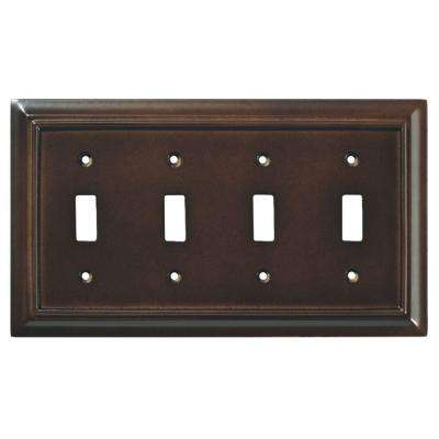 Architectural Wood Decorative Quadruple Switch Plate, Espresso