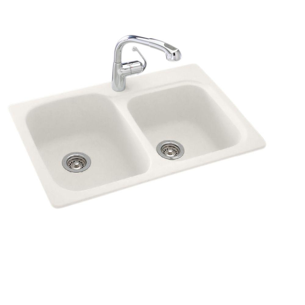 Dual Mount Composite 33 in. 1-Hole Double Bowl Kitchen Sink in