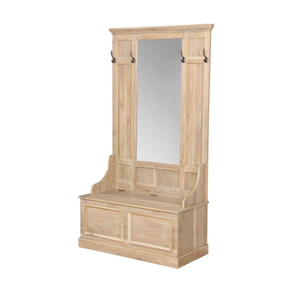 Brown and Clear Wooden Hall Tree with 4 Hooks and Mirror