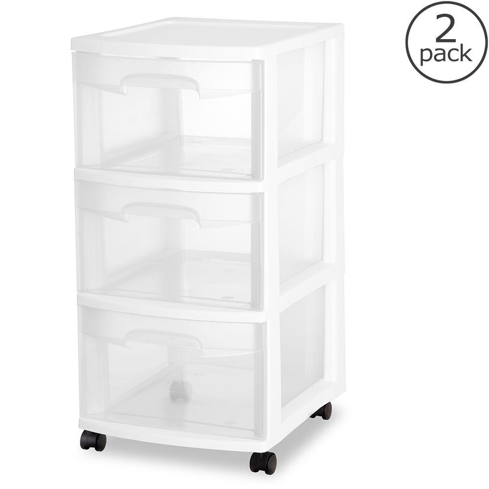 Sterilite 3-Drawer Medium Cart, White/Clear