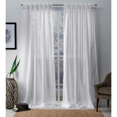 Bella 54 in. W x 96 in. L Sheer Hidden Tab Top Curtain Panel in Winter White (2 Panels)