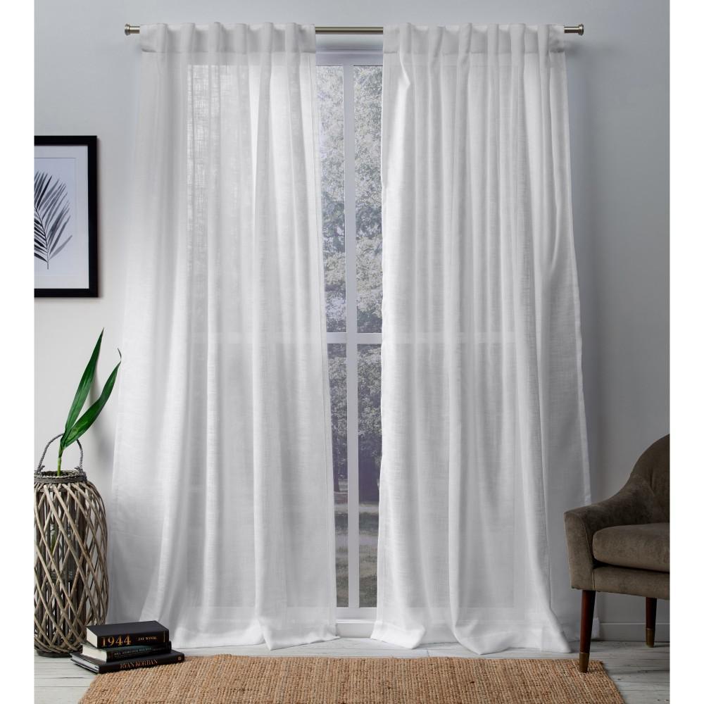 Bella 54 in. W x 96 in. L Sheer Hidden Tab Top Curtain Panel in Winter White (2 Panels)