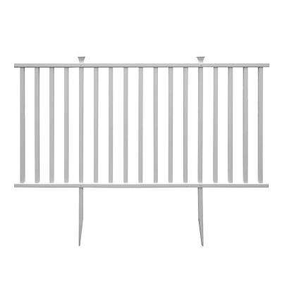 Birkdale Semi-Permanent 4 ft. x 7.5 ft. White Vinyl Fence Panel with Posts and Caps