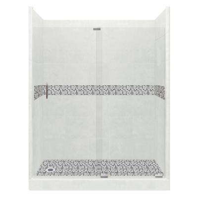 Del Mar Grand Slider 36 in. x 60 in. x 80 in. Left Drain Alcove Shower Kit in Natural Buff and Chrome Hardware