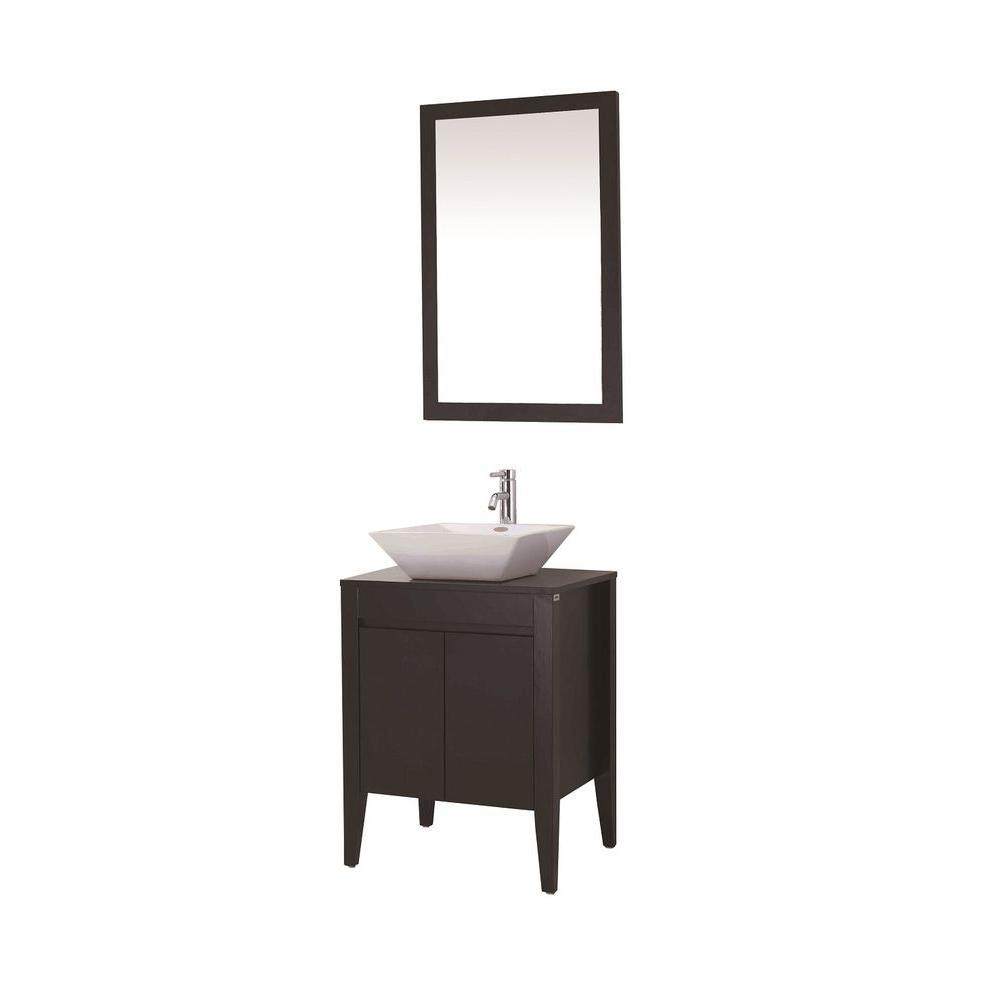 Dreamwerks 24 in. Vanity in Espresso with Ceramic Vanity Top in Espresso with White Basin and Mirror