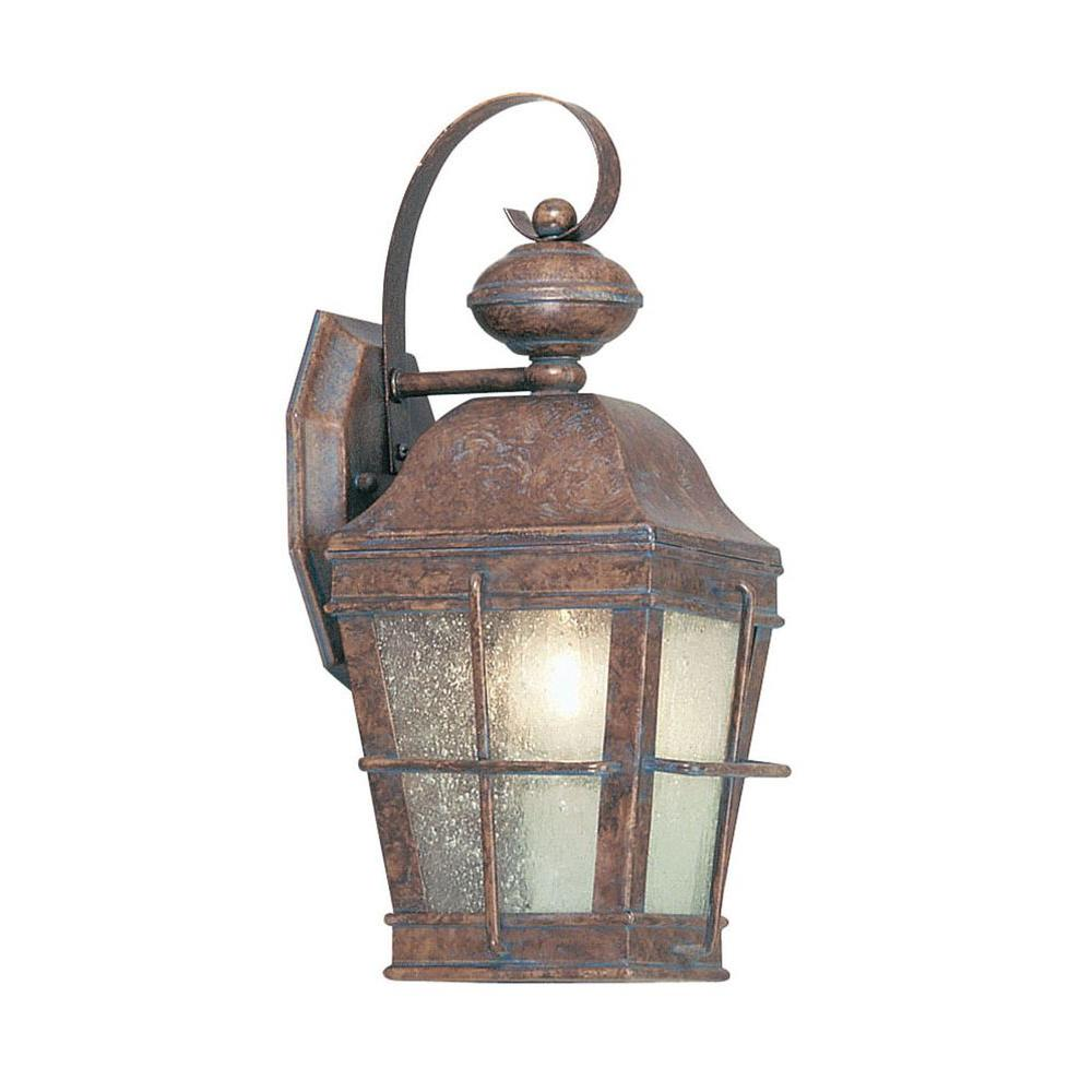 Livex Lighting Providence Wall-Mount 1-Light Outdoor Burl Incandescent Lantern