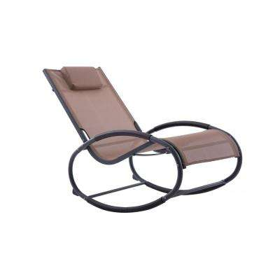 Vivere Macchiato on Matte Dark Grey Aluminum Outdoor Rocking Chair