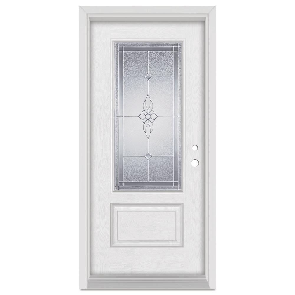 Stanley Doors 37.375 in. x 83 in. Victoria Left-Hand 3/4 Lite Zinc Finished Fiberglass Oak Woodgrain Prehung Front Door Brickmould