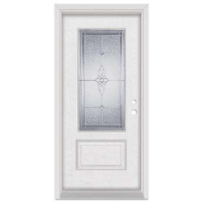 36 in. x 80 in. Victoria Left-Hand 3/4 Lite Zinc Finished Fiberglass Oak Woodgrain Prehung Front Door Brickmould