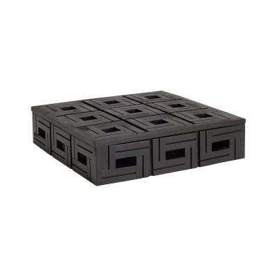 12 in. x 3 in. Chocolate Teak Patterned Decorative Box