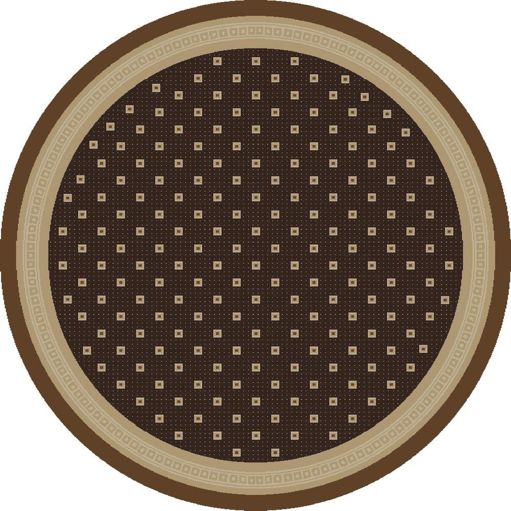 Jewel Athens Brown 5 ft. 3 in. Round Area Rug