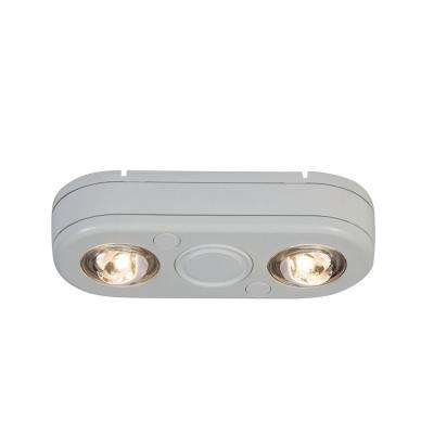 Revolve White Twin Head Outdoor Integrated LED Security Flood Light at 5000K Daylight, Switch Controlled