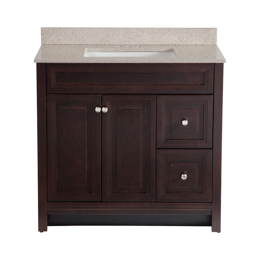 Home Decorators Collection Brinkhill 36 in. W x 22 in. D Bath Vanity in Chocolate with Colorpoint Vanity Top in Maui