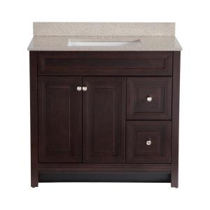 Home Decorators Collection Brinkhill 36 in. W x 22 in. D Bath Vanity in Chocolate with ...