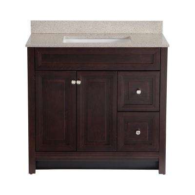 Brinkhill 36 in. W x 22 in. D Bath Vanity in Chocolate with Colorpoint Vanity Top in Maui