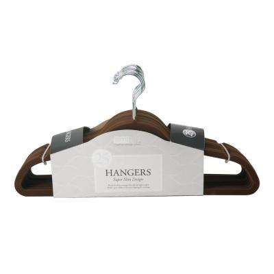 Slim Chocolate Velvet Suit Hanger (25-Pack)
