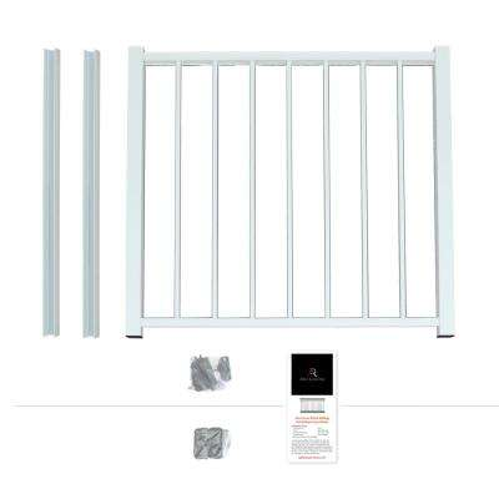 Powder Coated Aluminum Preassembled Deck Gate Kit 40 in. x 36 in. - White
