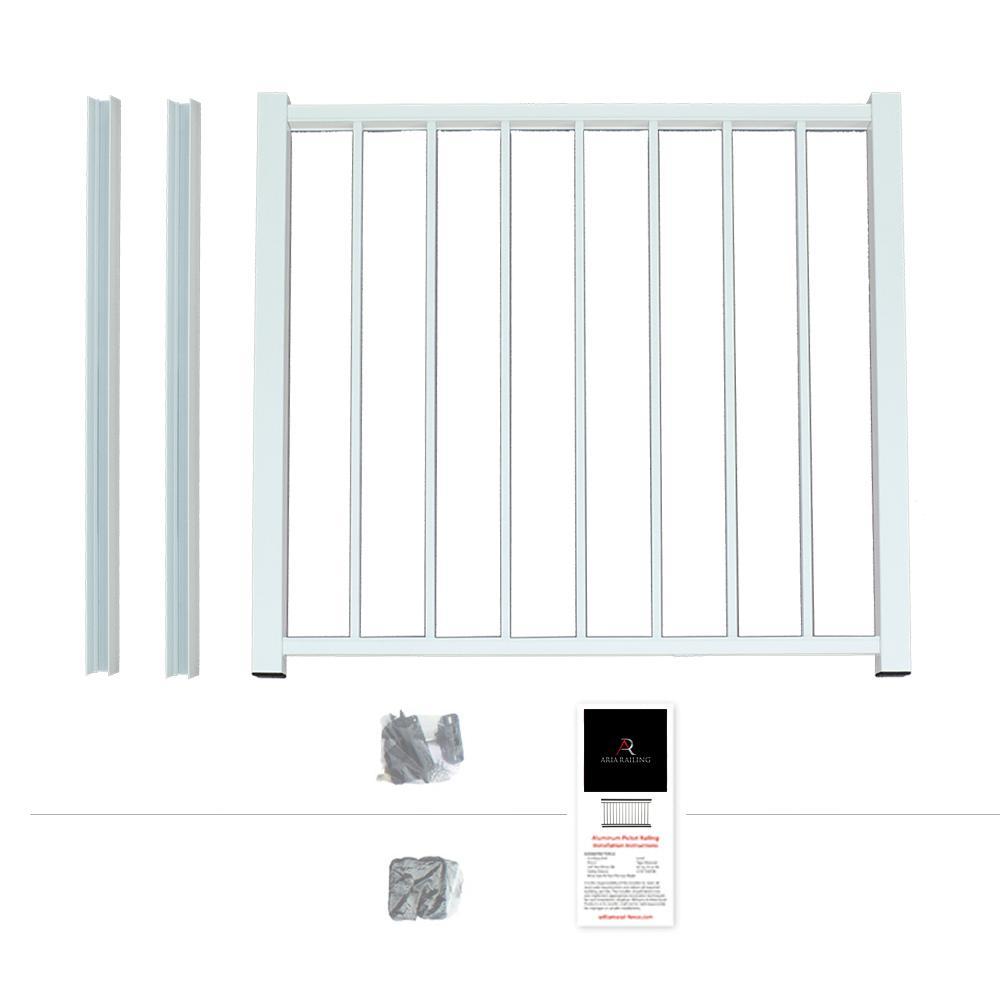40 in. x 36 in. White Powder Coated Aluminum Preassembled Deck Gate Kit