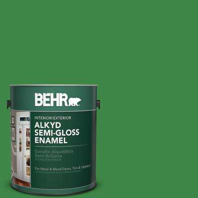 1 gal. #P400-7 Paradise of Greenery Semi-Gloss Enamel Alkyd Interior/Exterior Paint