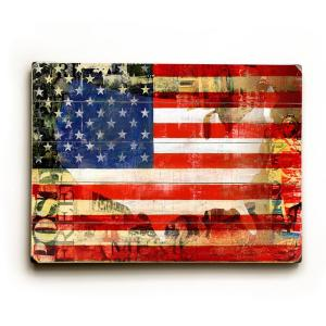 """25 in. x 34 in """"USA Flag by Cory Steffen """"Planked Wood"""" Wall Art"""