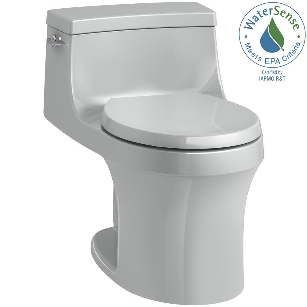 San Souci 1-piece 1.28 GPF Single Flush Round Toilet in Ice