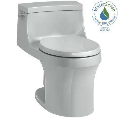 San Souci 1-piece 1.28 GPF Single Flush Round Toilet in Ice Grey