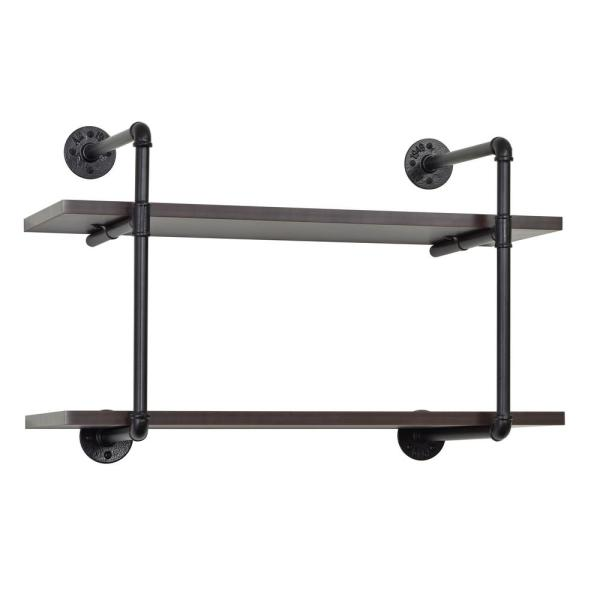 Muscle Rack 2-Tiered MDF and Metal Pipe Floating Wall Shelf IPWS-2T