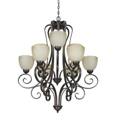 9-Light Tique Bronze Chandelier