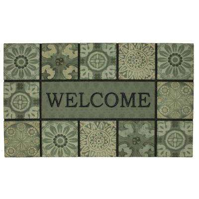 Welcome Ocean Tiles Slate 18 in. x 30 in. Doorscapes Mat