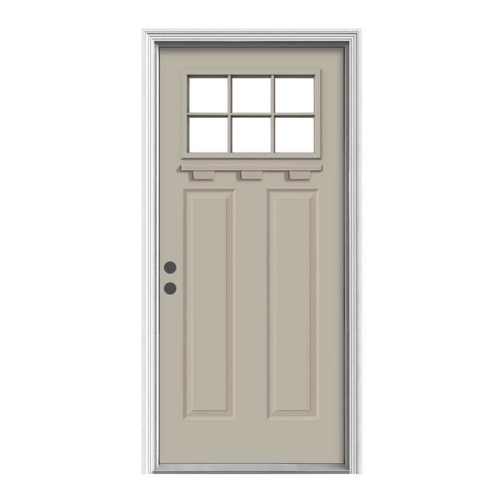 36 in. x 80 in. 6 Lite Craftsman Desert Sand Painted
