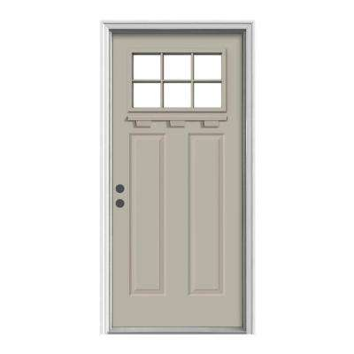 6-Lite Craftsman Painted Steel Prehung Front Door with Brickmold and Shelf
