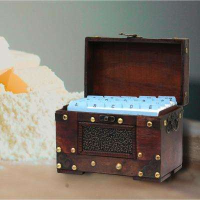 4 in. x 6 in. Rustic Studded Index/Recipe Card Box with Antiqued Latch