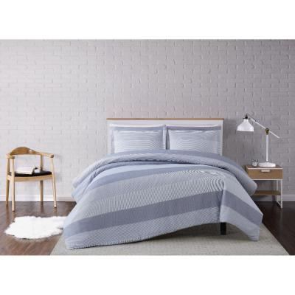 Grey Multi Stripe King 3 Piece Duvet Cover Set