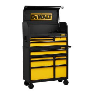 Click here to buy Dewalt 40 inch 11-Drawer Rolling Bottom Tool Cabinet and Top Tool Chest Combo, Black by DEWALT.