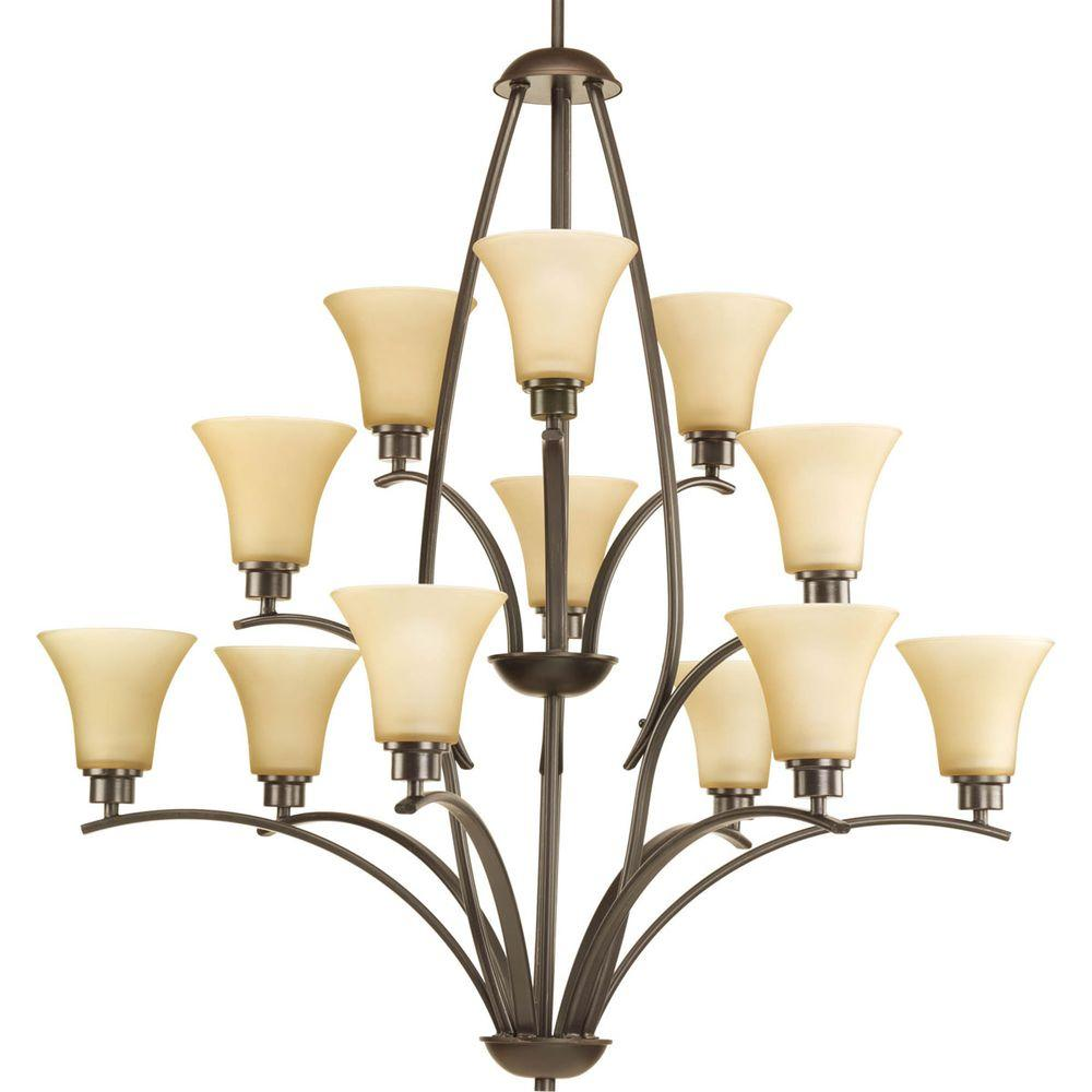 Progress Lighting Joy Collection 12 Light Antique Bronze Chandelier With Etched Hammered Gl Shade