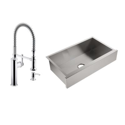 Lyric All-in-One Farmhouse Apron-Front Stainless Steel 34 in. Single Bowl Kitchen Sink with Sous Kitchen Faucet
