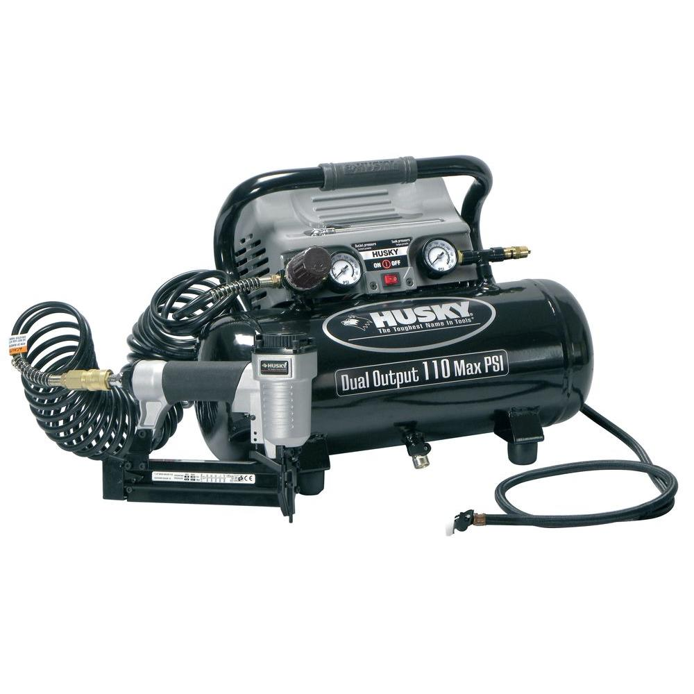 Husky 2-Gal. Portable Electric Dual-Output Air Compressor Kit-DISCONTINUED