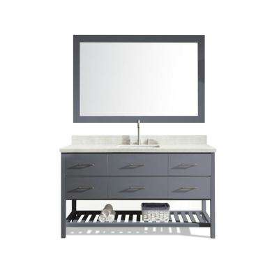 Shakespeare 61 in. Bath Vanity in Grey with Quartz Vanity Top in White with White Basin and Mirror