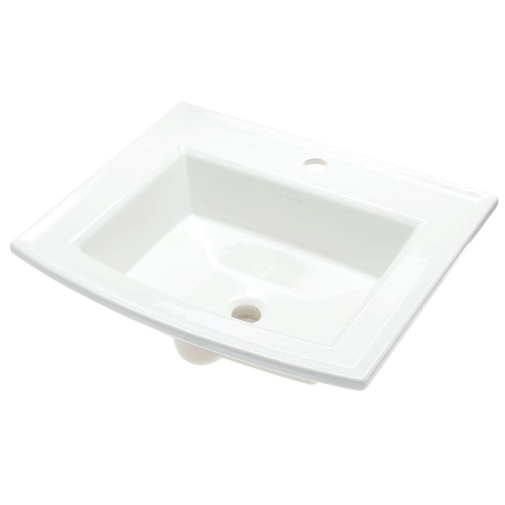 Archer Drop-In Vitreous China Bathroom Sink in White with Overflow Drain