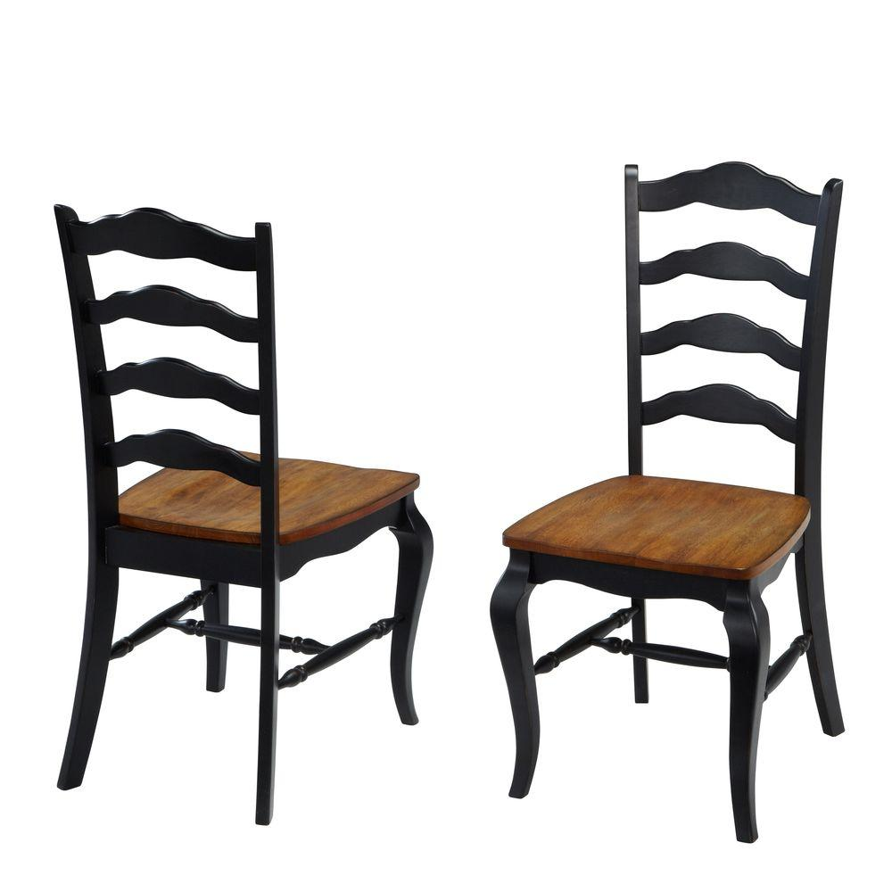 French Countryside Rubbed Black Oak Dining Chair Set Of 2