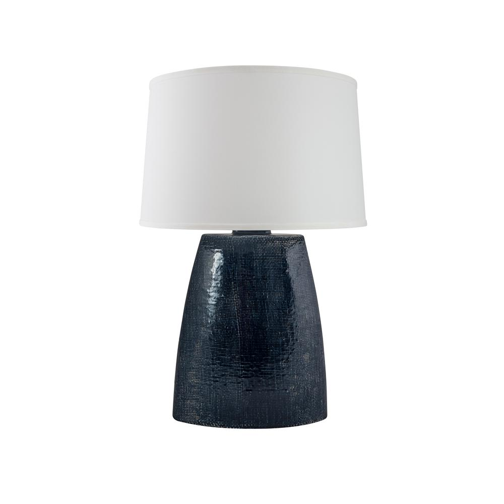 Burlap 28 in. Midnight Blue Crackle Indoor Table Lamp