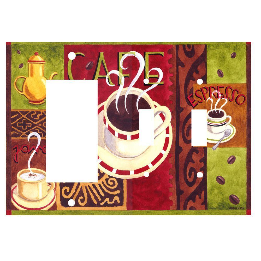 Art Plates Coffee Cafe Rocker/2 Switch Combo Wall Plate
