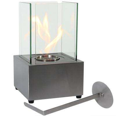 Cubic 13 in. Bio-Ethanol Tabletop Indoor Fireplace in Stainless Steel