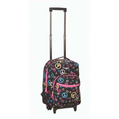 Rockland Roadster 17 in. Rolling Backpack, Peace