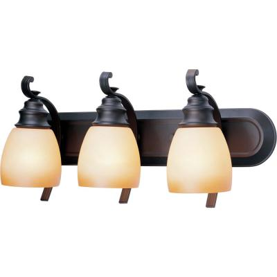 Rainier 3-Light Indoor Foundry Bronze Bath or Vanity Wall Mount with Sandstone Glass Bell Shades