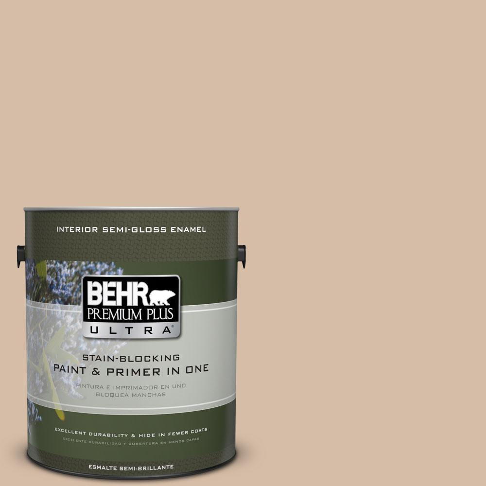 BEHR Premium Plus Ultra Home Decorators Collection 1-gal. #HDC-MD-12 Tiramisu Cream Semi-Gloss Enamel Interior Paint