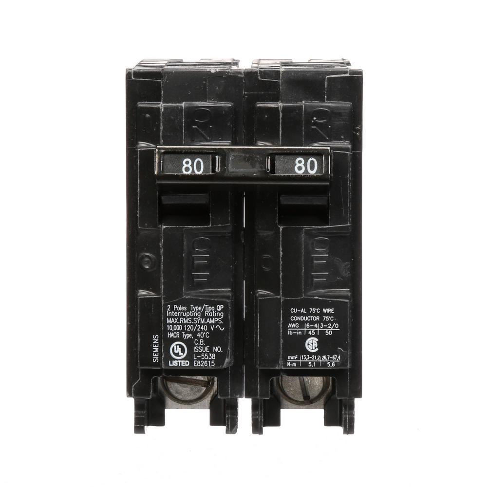 Siemens 80 Amp Double-Pole Type QP Circuit Breaker