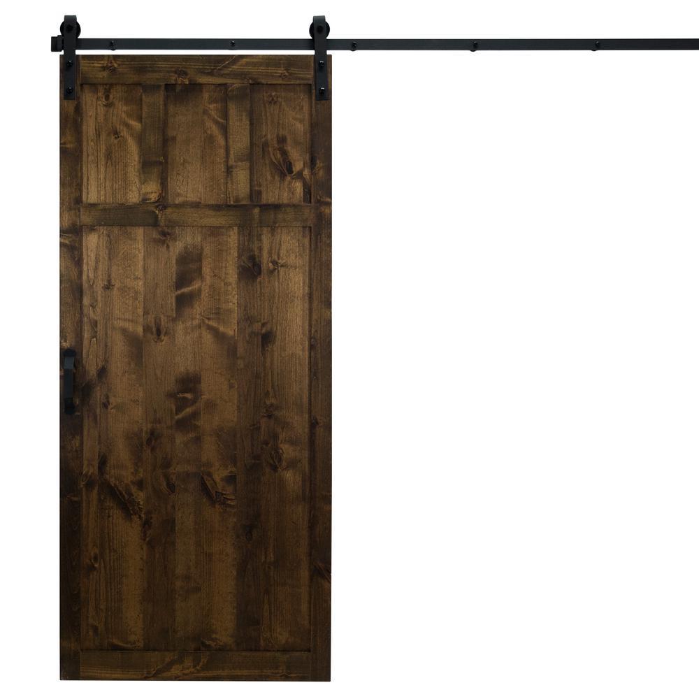 36 in. x 84 in. Craftsman Dark Chocolate Alder Wood Interior Barn Door Slab with Sliding Door Hardware Kit