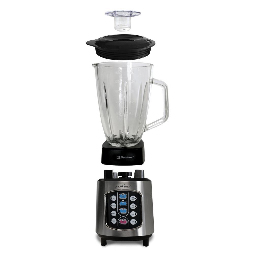 Kitchen Magic Collection 50 oz. 10-Speed Blending Programs Black Glass Jar Blender